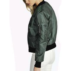 Fashion Casual Solid Color Zipper Women's Jacket - KINGEOUS