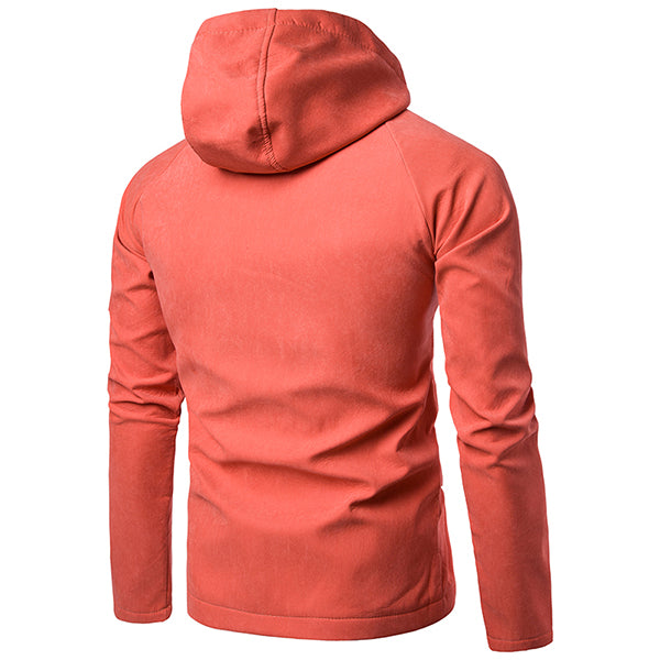 Solid Color Microfiber Double Thicken Hooded Men's Jacket(European Size )