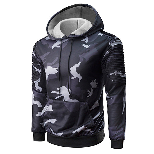 Pleated Raglan Sleeves Camo Hooded Men's Hoodie