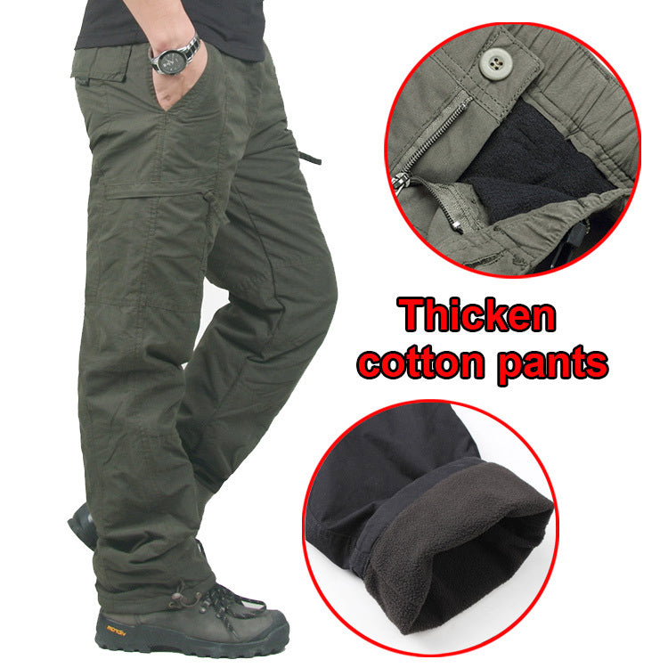 Warm Double Layer Thick Cotton Outdoor Winter Men's Pants