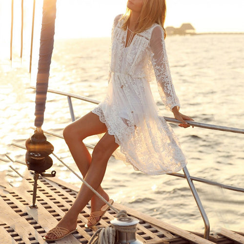 White Lace Long Sleeve Loose Hollow Beach Dress