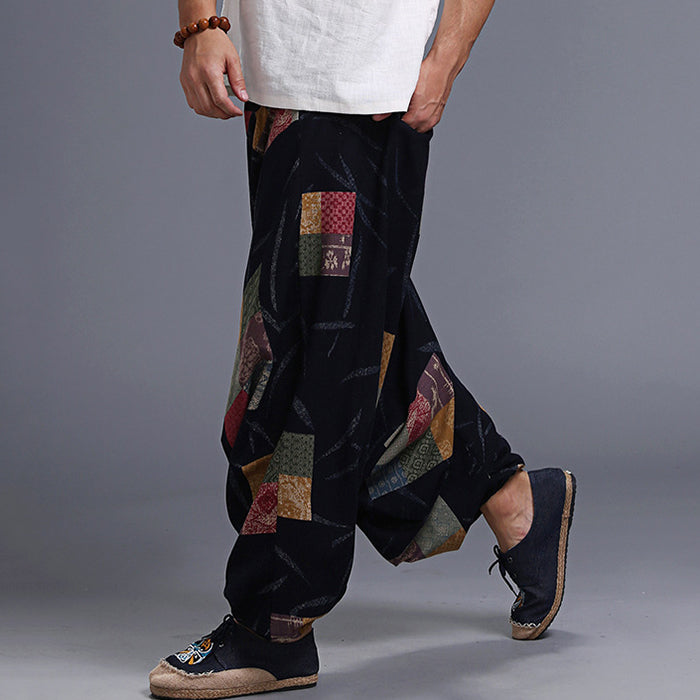 Loose Retro Nepal Style Print Men Casual Pants