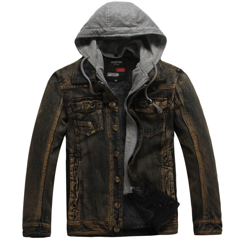 Casual Plus Velvet Washed Hooded Men's Jacket