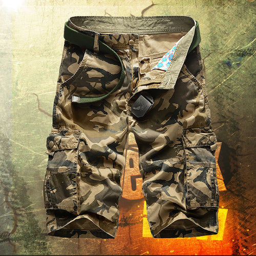 Army Casual Cotton Camo Multi-pocket Men Shorts