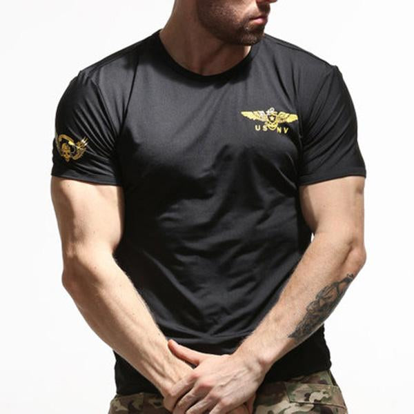 Special Forces Tactical Elastic Quick Dry Skinny Printing Men's T-shirt