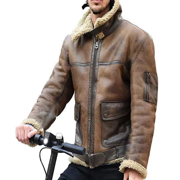 Cool Lamb PU Punk Winter Warm Men's Jacket