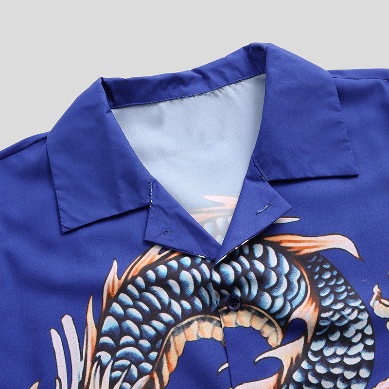 Dragon Printed Casual Short Sleeve Men and Women Shirt