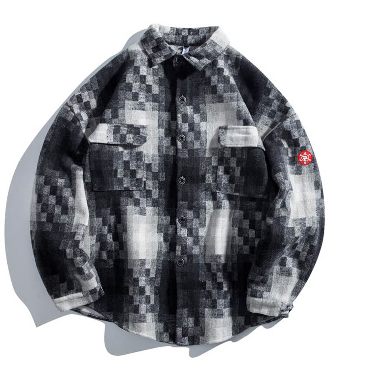 Thicken Mosaic Grid Printed Casual Men's Shirt