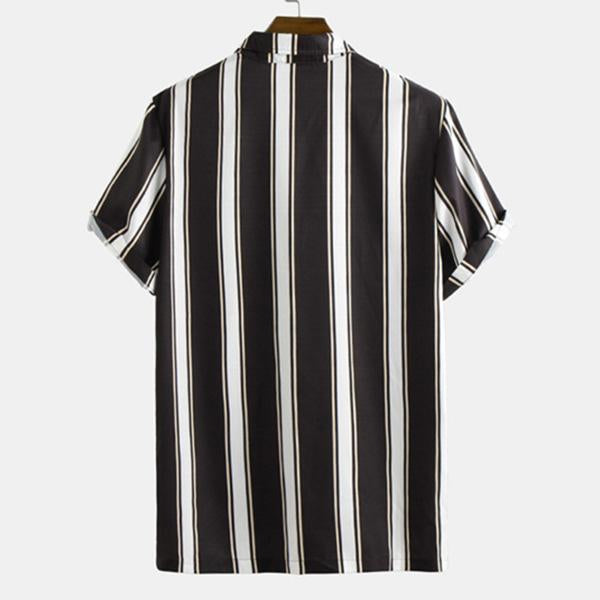 Causal Fashion Wide Stripes Printed Holiday Daily Men's Shirt