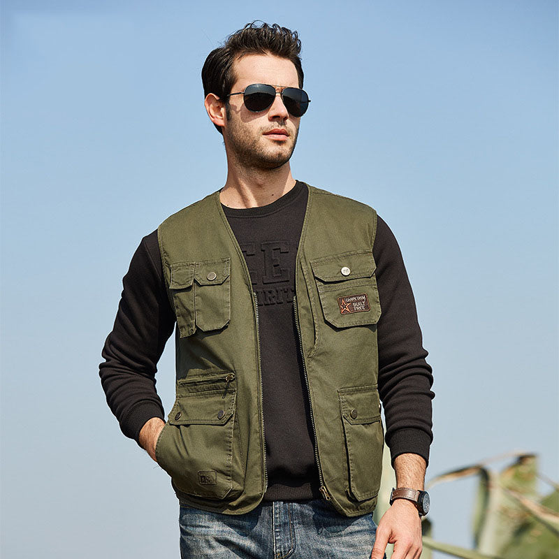 New Casual V-neck Cotton Multi-pocket Middle-aged Vest