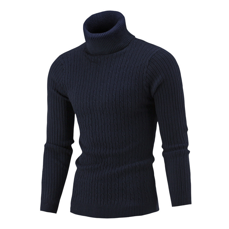 Solid Color Knit High Collar Men's Sweater
