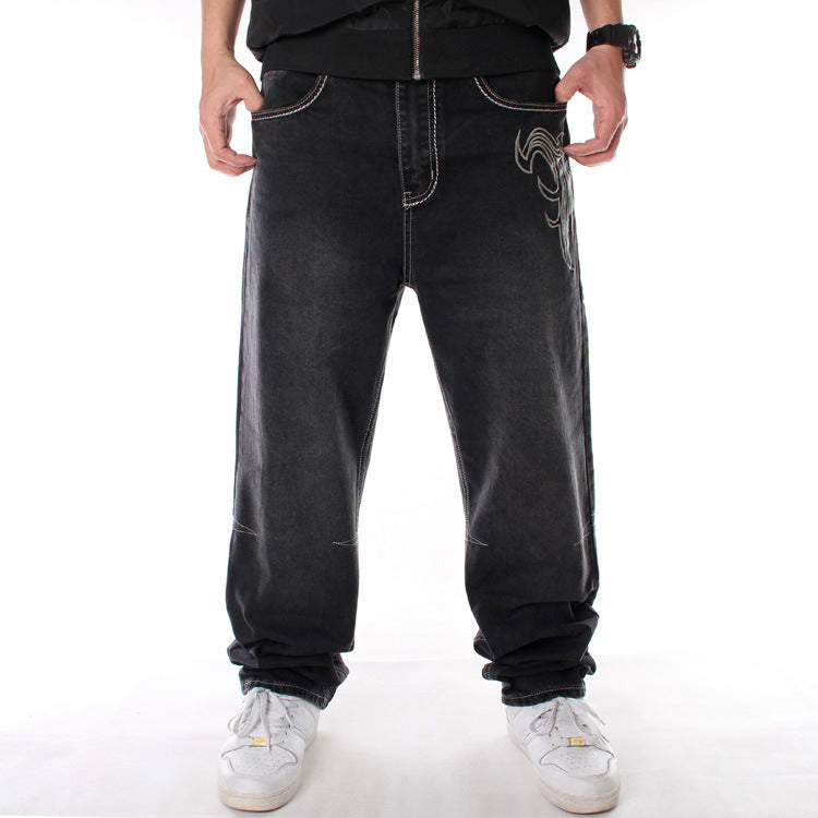 Hip Hop Washed Loose Skate Men Denim Pants
