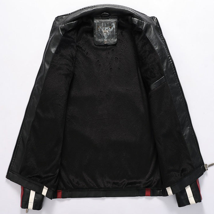 Cool Stand Collar Embroidered Men's Leather Jacket