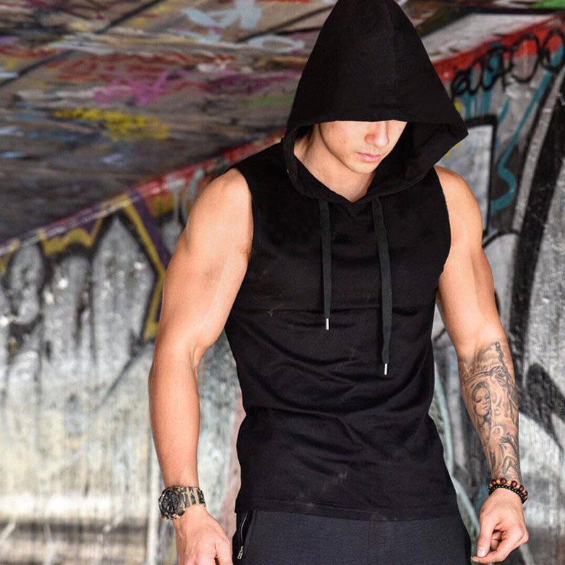 Sports Stretch Breathable Sleeveless Hooded Cool Men's Vest