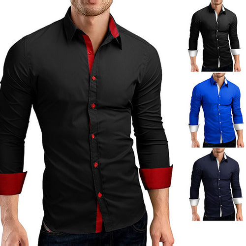 Split Joint Slim Lapel Men's Shirt