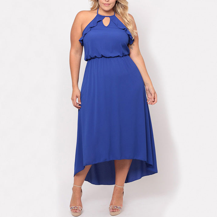 Elegant Lace Up Hollow Backless Pure Color Plus Size Long Dress - KINGEOUS