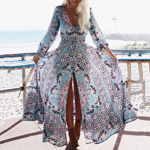 Stylish Bohemia Pattern Printed Deep V-neck Maxi Dress