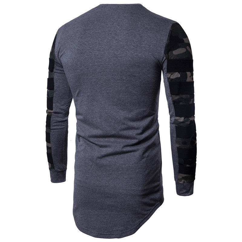 Stitching Camo Printed T-shirt Long-sleeved Men's T-shirt