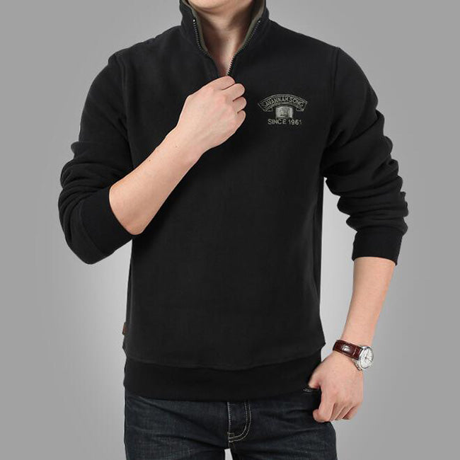 Winter Plus Velvet Thickened Fleece Zipper Collar Men's T-Shirt