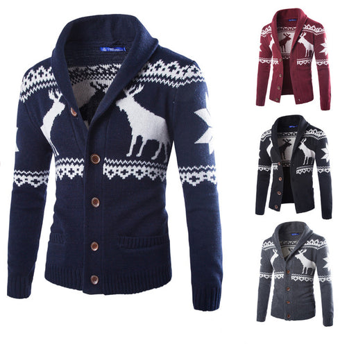 Casual Deer Christmas Printing Sweater Men Cardigan