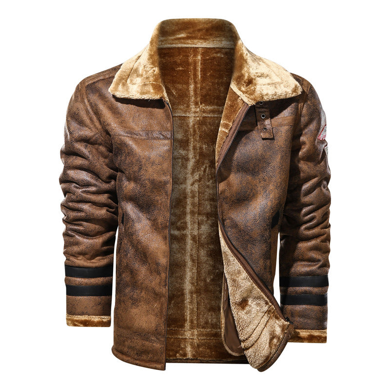 New Winter Men's Plus Velvet Leather Jacket