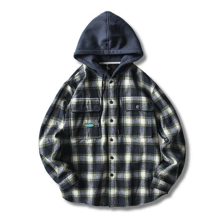 Thicken Grid Printed Hooded Long Sleeve Casual Men's Shirt