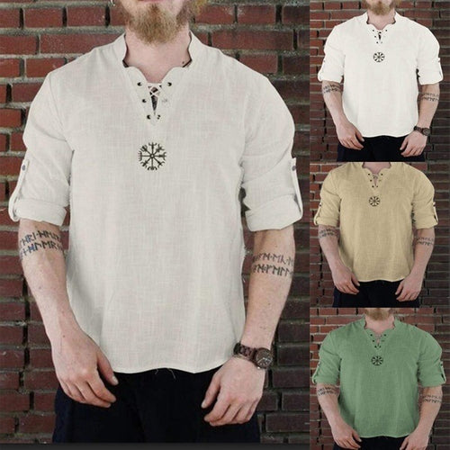 Casual Transaction Solid Color Cotton Linen Men T-shirt - KINGEOUS