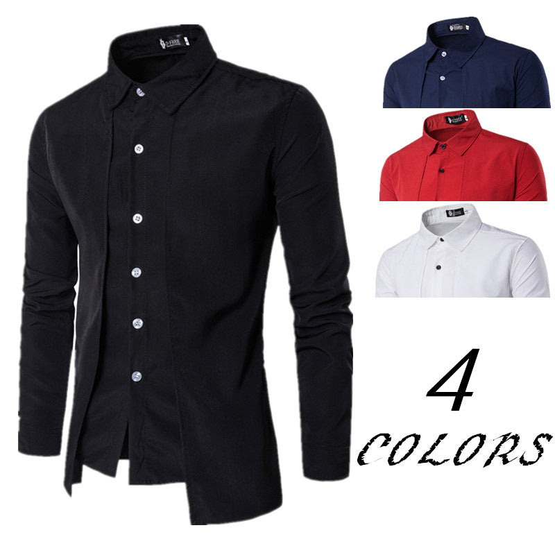 Slim Solid Color Fake Two Piece Long-sleeved Men's Shirt