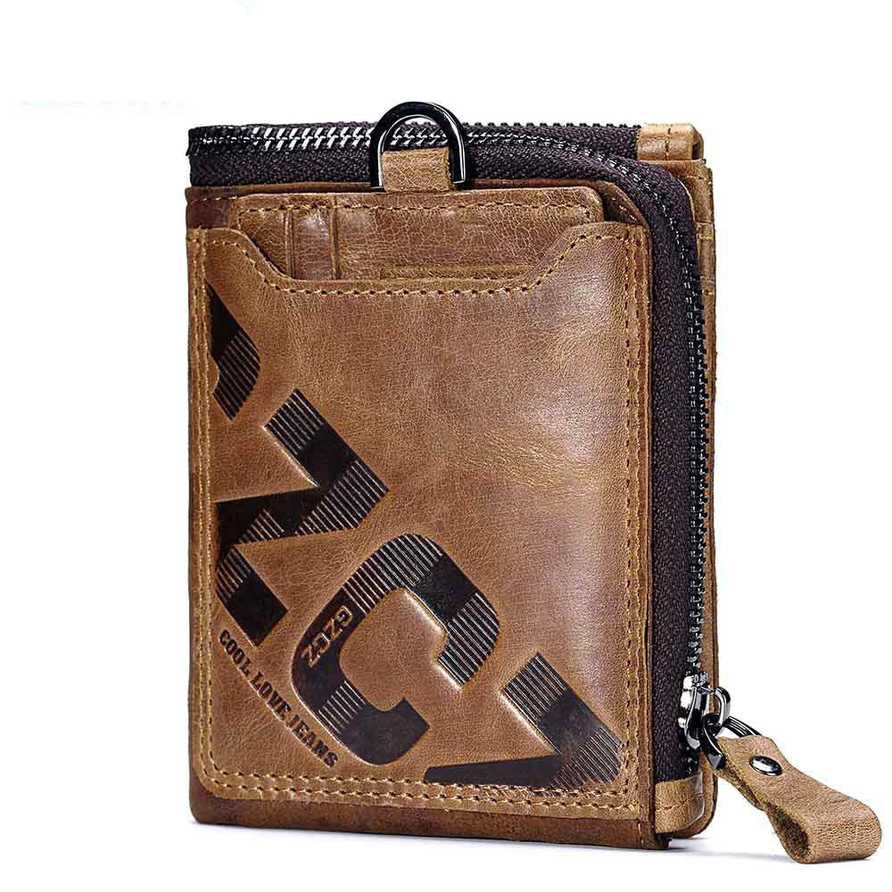 Retro Brown Zipper Leather Card Coin Men's Wallet