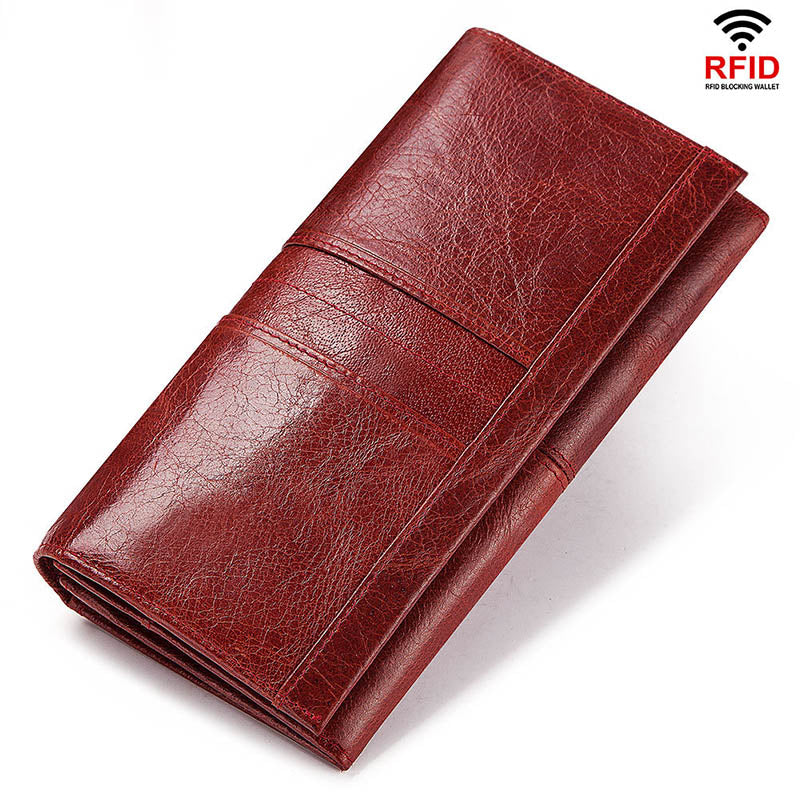 RFID Leather Zipper Coin Purse Cards ID Women's Wallet