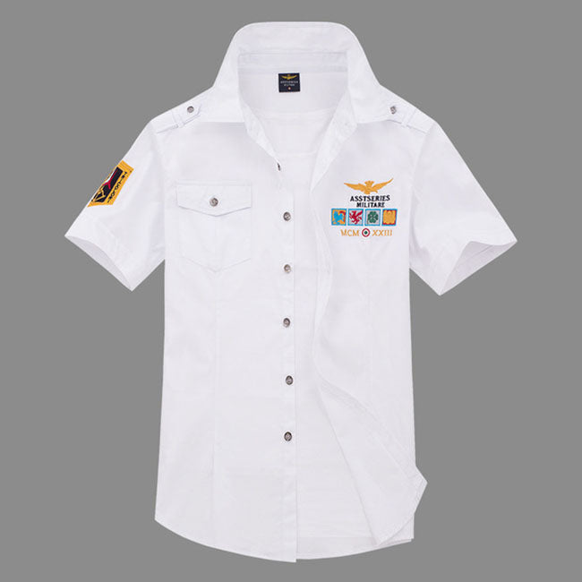 Air Force One Cotton Embroidery Slim Men's Shirt