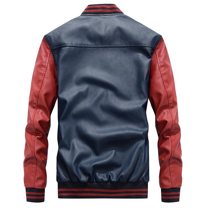 Embroidery Baseball Pu Faux Leather Men Bomber Jacket