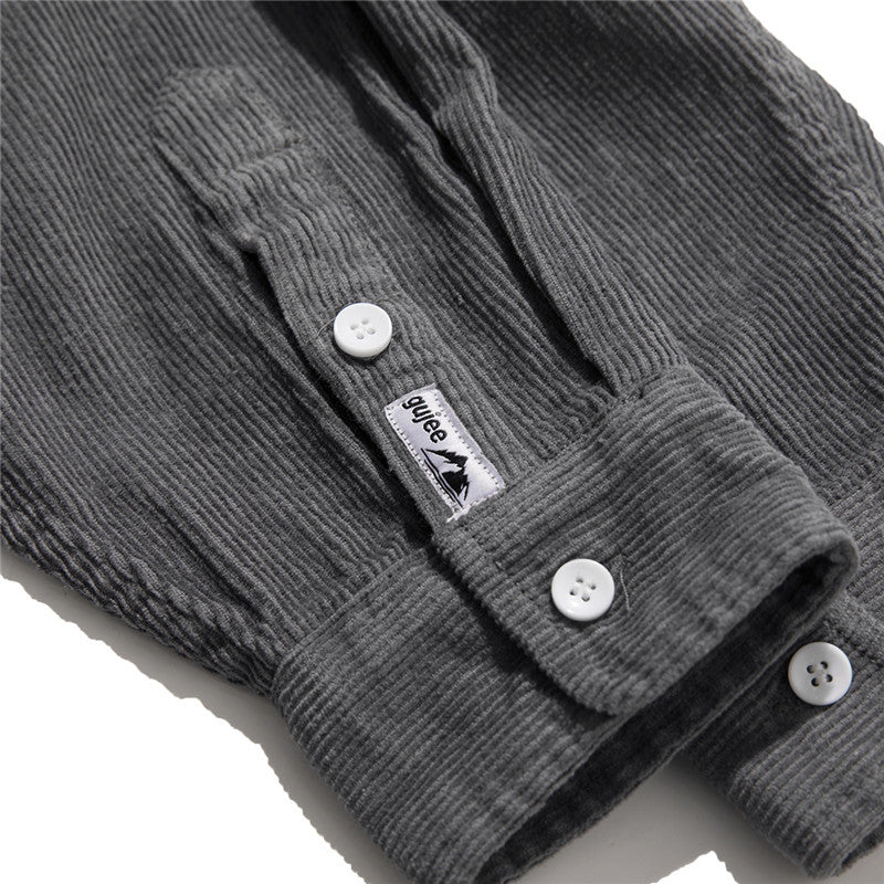 Corduroy Casual Loose Lapel Long Sleeve Men's Shirt