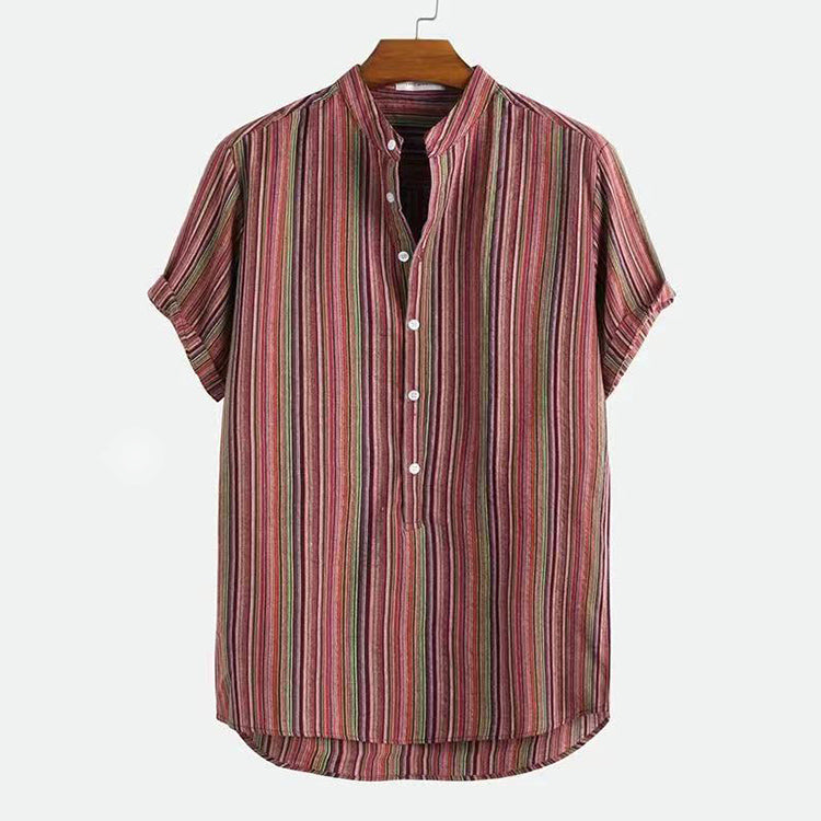 Retro Traditional Lapel Stripes Printed Hawaiian Men Shirt