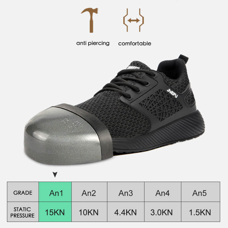 Outdoor Breathable Men's Safety Shoes Mesh Steel Toe Anti Smashing Work Shoes