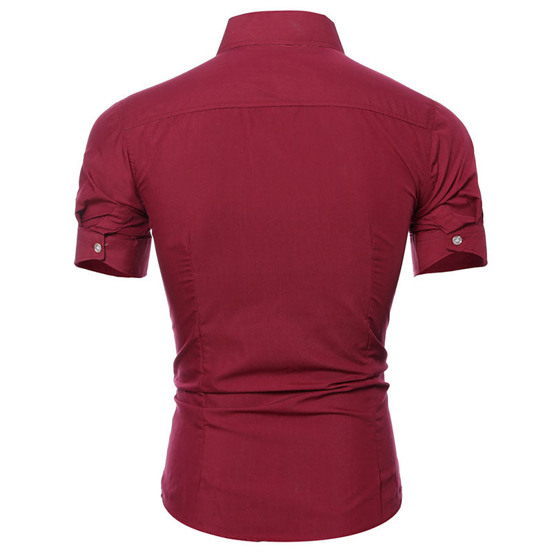 Men's Slim Solid Color Casual Short-sleeve Shirt