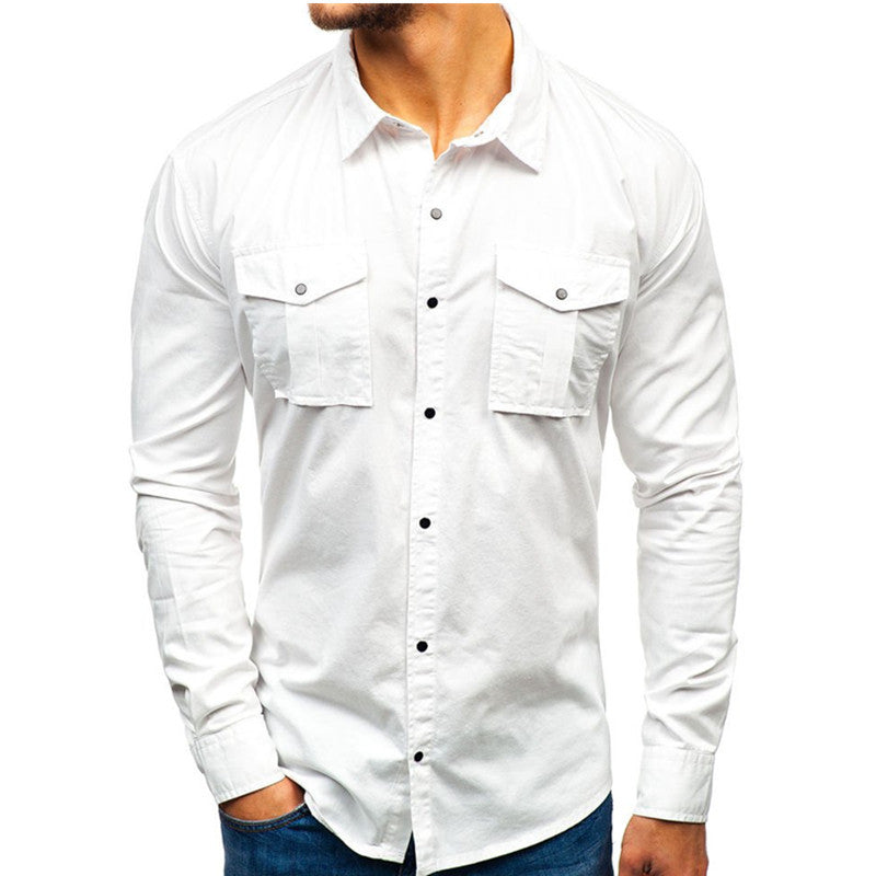 Solid Color Long Sleeve Multi-pocket Men's Shirt