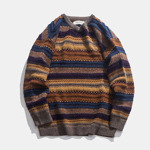 Chic Stripes Printed Knit Round Neck Men Casual Sweater