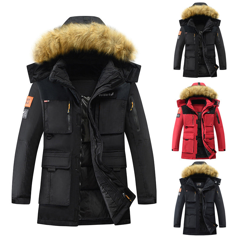 Casual Hooded Multi-pocket Thickening Men's Coat