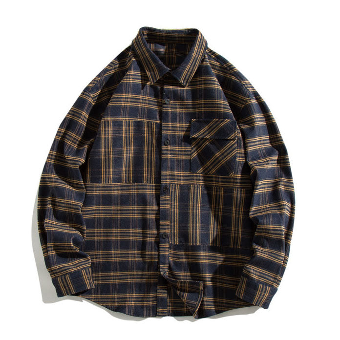 Casual Warm Cotton Plaid Lapel Long Sleeve Men's Shirt