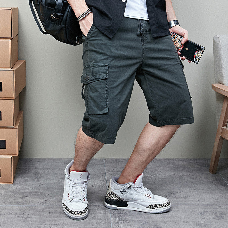 Casual Cotton Multi-pocket Men's Five-point Shorts