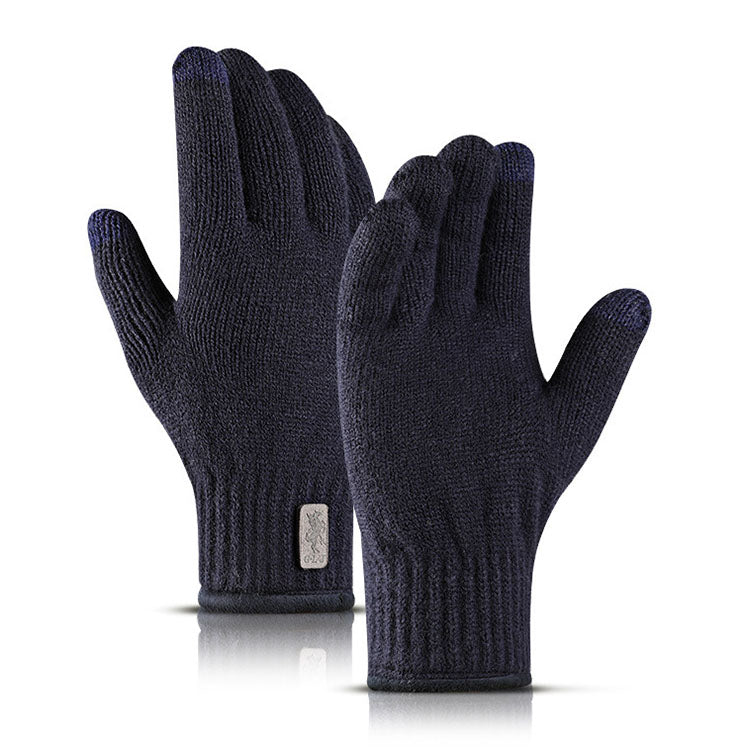 Simple Knitting Warm Double Layer Men Women Gloves