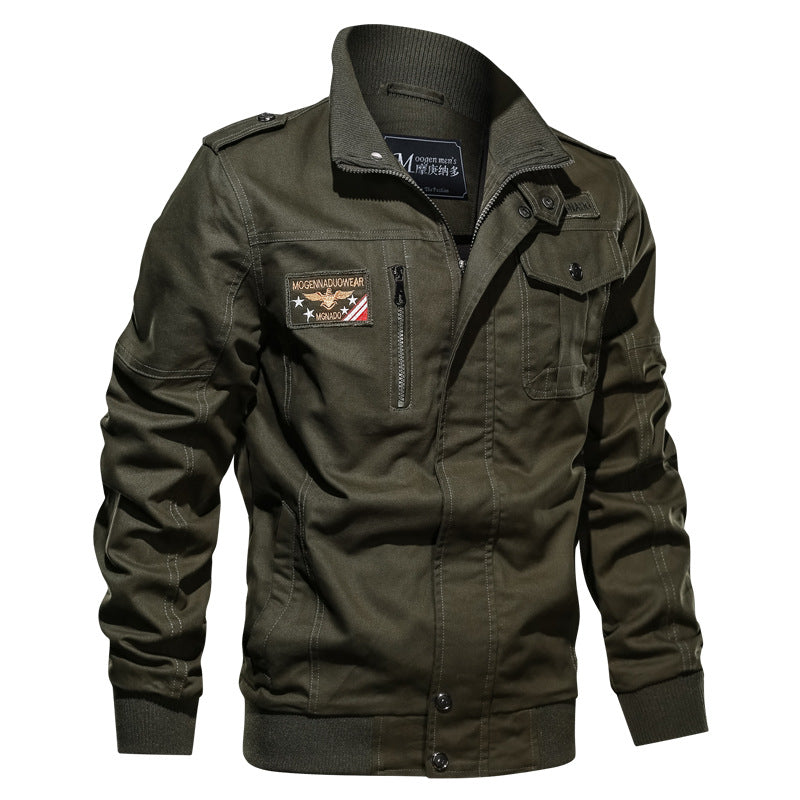 Plus Size Stand Collar Men's Bomber Jacket