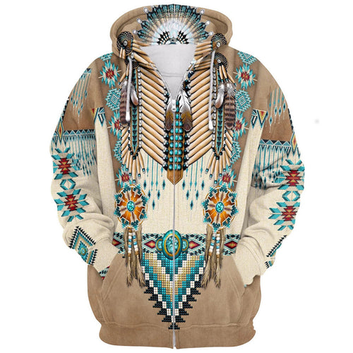 3D Digital Printed Hooded Traditional Indians Zip-up Couple Hoodie
