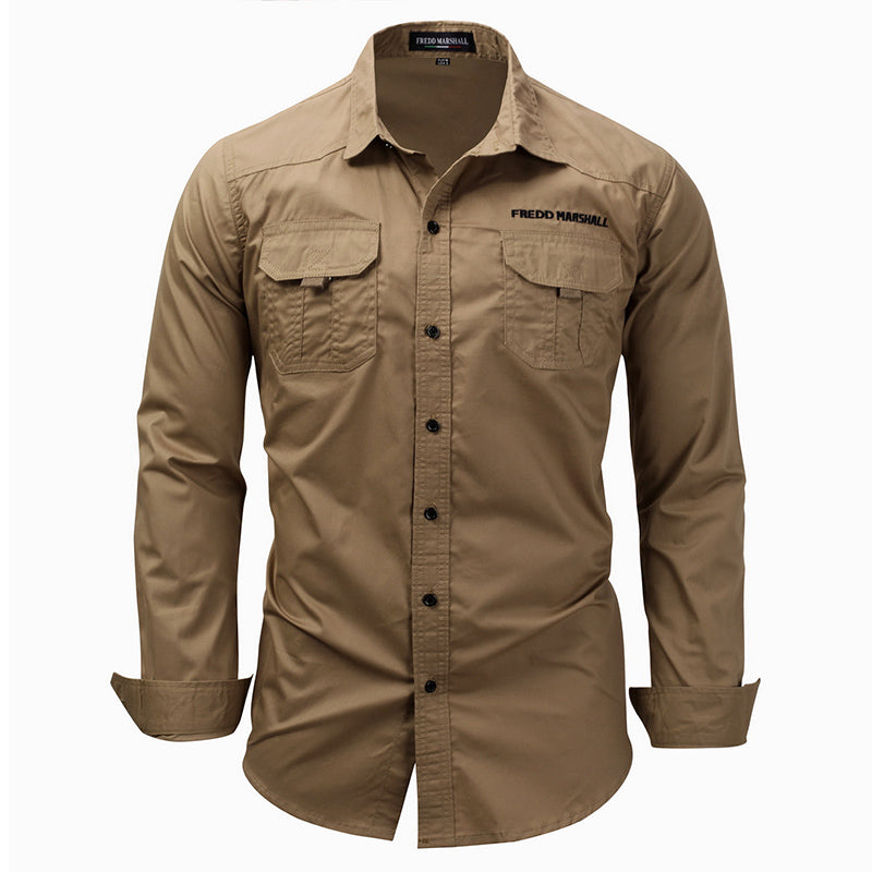 Long Sleeve Lapel Outdoor Shirt Cotton Casual Pocket Army Men Shirt
