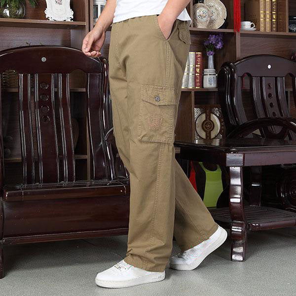 Casual Cotton Washed Loose Men's Cargo Pants - KINGEOUS