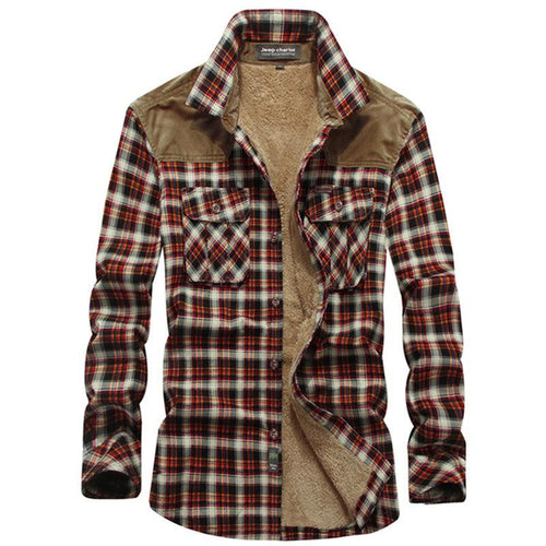 Casual Outdoor Plaid Long Sleeve Cotton Warm Men's Shirt