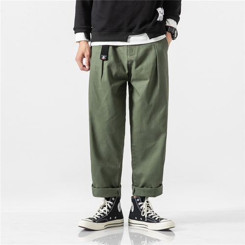Mens Vintage Straight Pure Color Casual Pants
