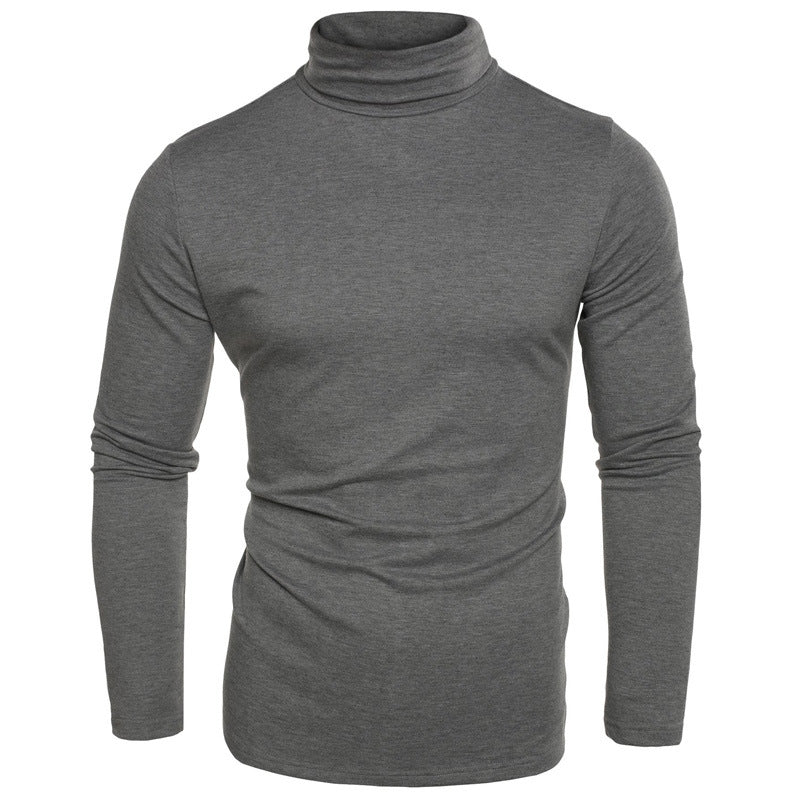 High Collar Solid Color All-match Long Sleeve Men's T-shirt