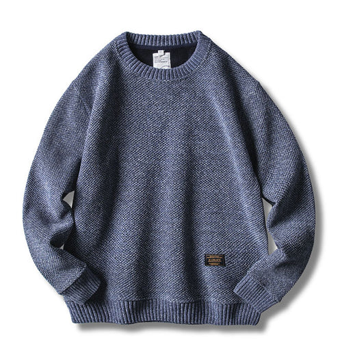 Solid Color Knit Round Neck Men Casual Sweater